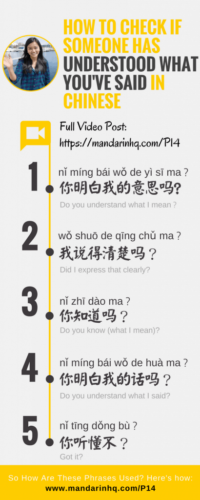 check if someone has understood what you've said in Chinese Infographic 1
